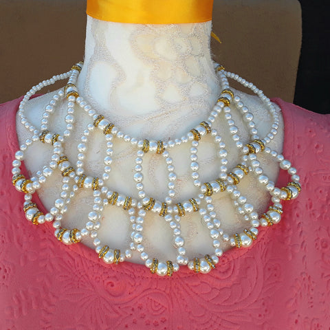 Unique Pearl Bridal Statement Necklace - One of a Kind Collar, Special Gift for Her