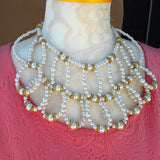 Pearl Bridal Statement Necklace - Unique One of a Kind Gift for Her