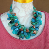 Unique Chunky Turquoise Statement Necklace, Colorful Collar, Mother of the Bride Collar