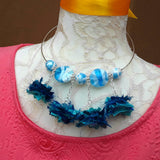 Boho Blue Sari Silk and Murano Glass Statement Wire Choker - Unique Gift for Her
