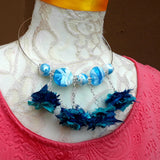 Boho Blue Sari Silk / Murano Glass Statement Wire Choker - Unique Gift for Her