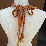 Boho Copper Sari Silk Ribbon Flower Statement Necklace - Gypsy Style Fabric Gift for Her