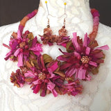 Boho Mauve Sari Silk Flower Statement Necklace - Unique Colorful Fabric Jewelry Gift for Her