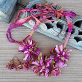 Mauve Boho Sari Silk Flower Statement Necklace - Unique Colorful Fabric Jewelry Gift for Her