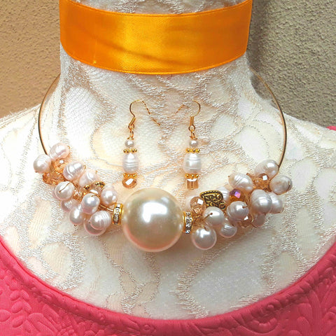 Modern Cluster Twisted Wire Freshwater Pearl Choker Set - Unique Pearl Gift for Her