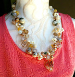 Pearl & Crystal Chunky Bridal Statement Necklace, Wedding Jewelry, Party Necklace