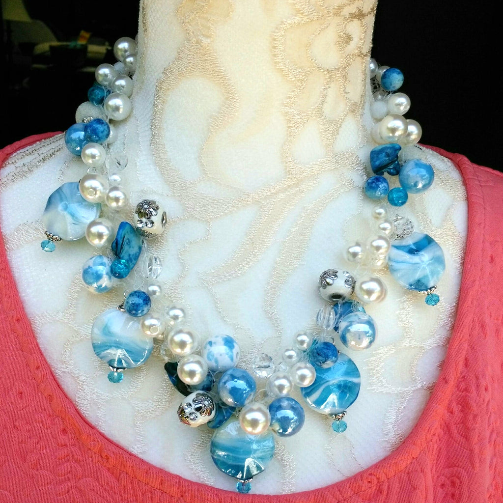 Murano Glass and Pearl Bridal Statement Necklace, Pearl Statement Collar, Something Blue for Bride