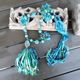 Turquoise Gypsy Style, Boho Chic, Tassel, Recycled Sari Silk Ribbon, Statement Necklace