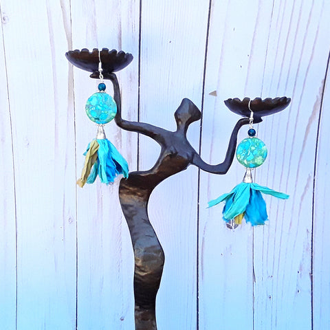 Turquoise Sari Silk Ribbon Dangle Tassel Statement Earrings - Boho Fabric Earrings