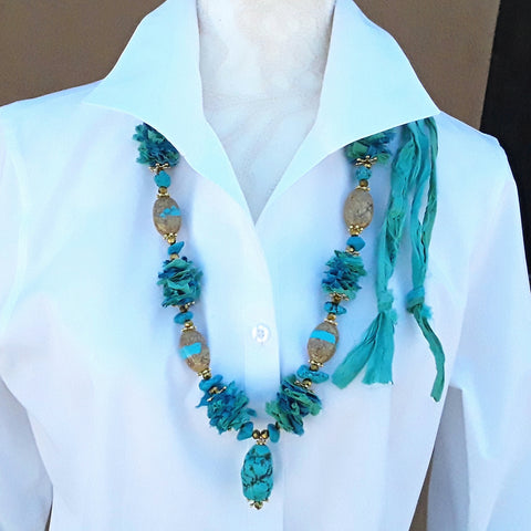 Turquoise Boho Chic, Recycled Sari Silk Ribbon Statement Necklace - Gift for Her