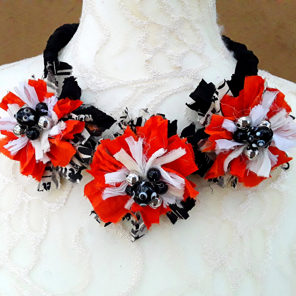 Halloween Colored Sari Silk Ribbon Flower Statement Necklace - Tribal Fabric Gift for Her