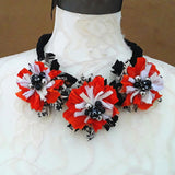 Fall Colored Sari Silk Ribbon Flower Statement Necklace - Tribal Fabric Gift for Her