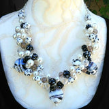 Unique Pearl Chunky Colorful Statement Necklace, Fun OOAK Gift for Her, Fancy Party Bib