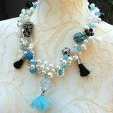 Pearl Shabby Chic Statement Necklace, Colorful Chunky Necklace, Unique Little Black Dress Bib