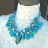 Real Turquoise Chunky Multi-Strand Statement Necklace, Mother of the Bride Bib Gift