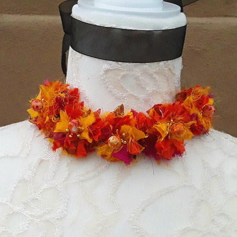 Burnt Orange Boho Flower Silk Ribbon Statement Choker - Unique Gypsy Style Gift for Her