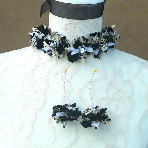 Black and White Boho Fuzzy Silk Ribbon Flower Statement Choker - Unique Gypsy Style Gift for Her