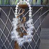 Clear All Glass Bubble Bridal Statement Collar - Designer Inspired Crocheted Gift for Her