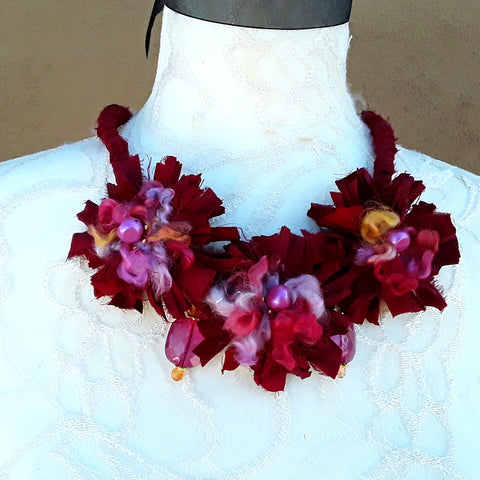 Ruby Red Boho Fuzzy Sari Silk Ribbon Flower Statement Necklace - Tribal Fabric Gift for Her