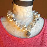 Unique Designer Inspired Pearl Bridal Statement Necklace - Chunky Artisan Gift for Her