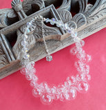 Clear Hand Blown All Glass Bubble Bridal Statement Collar - Designer Inspired Gift for Her