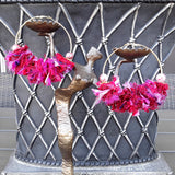Fuschia Sari Silk Ribbon Huge Boho Gold or Silver Hoop Statement Earrings