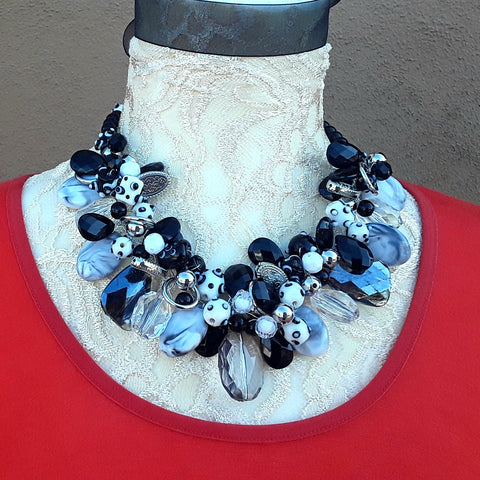 Unique Black and White Designer Inspired Wire Statement Necklace - Mother of the Bride Collar