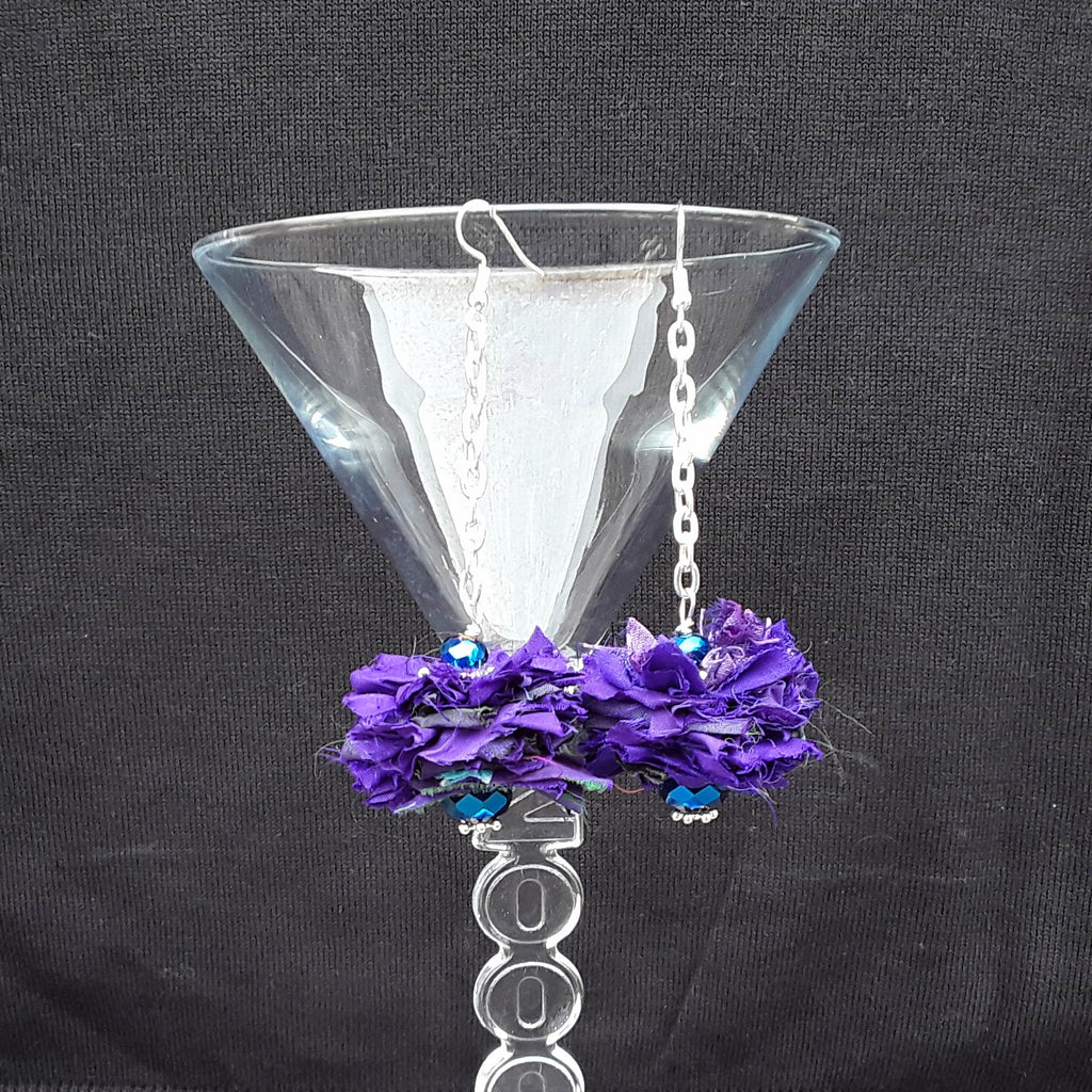 Purple Sari Silk Ribbon Dangle Flower Statement Earrings - Boho Fabric Earrings