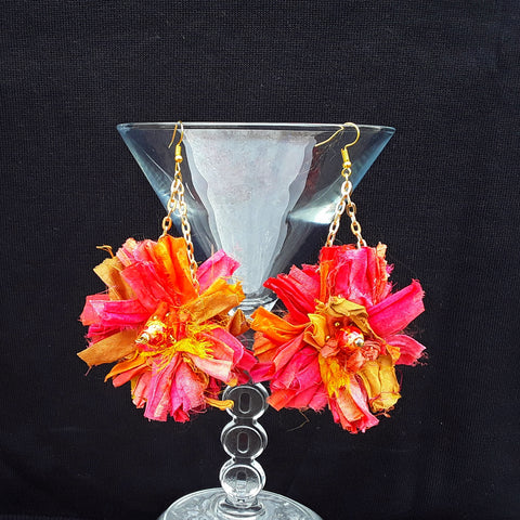 Burnt Orange Sari Silk Ribbon Dangle Flower Statement Earrings - Boho Fabric Earrings