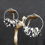 Black and White  Huge Hoop Silver Statement Earrings - Sari Silk Boho Fabric Earrings