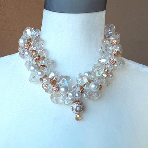 Pearl & Crystal Chunky Bridal Statement Necklace, Wedding Jewelry, Holiday Party Gift