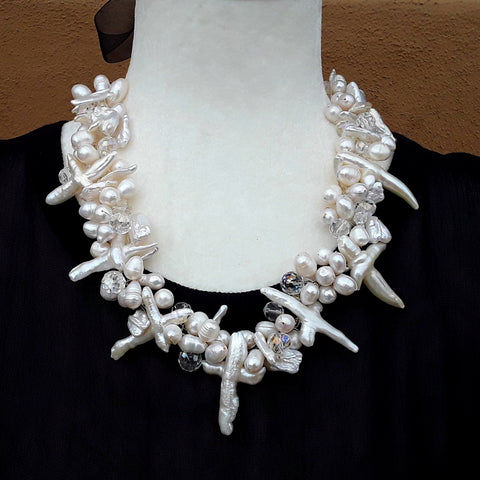 Bridal Freshwater Pearl Cross Statement Necklace, Pearl Wedding Necklace, Chanel Inspired Necklace