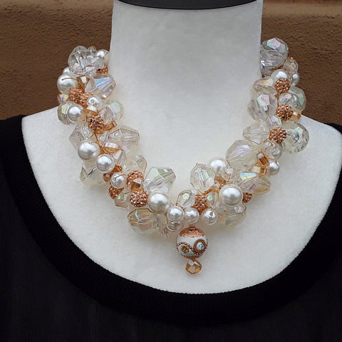 Pearl & Crystal Chunky Twisted Wire Statement Necklace, Wedding Jewelry, Holiday Party Gift