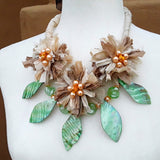 Boho Shell and Cream Sari Silk Flower Statement Necklace - Unique Colorful  Gypsy Style Gift for Her