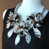 Boho Shell Black  and White Sari Silk Flower Statement Necklace - Unique Colorful  Gypsy Style Gift for Her