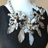 Boho Shell Black & White Sari Silk Flower Statement Necklace - Unique Gypsy Style Gift for Her
