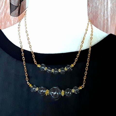 Layered Modern Hand Blown Glass Bubble Necklace Set in Gold or Silver Plate Chain