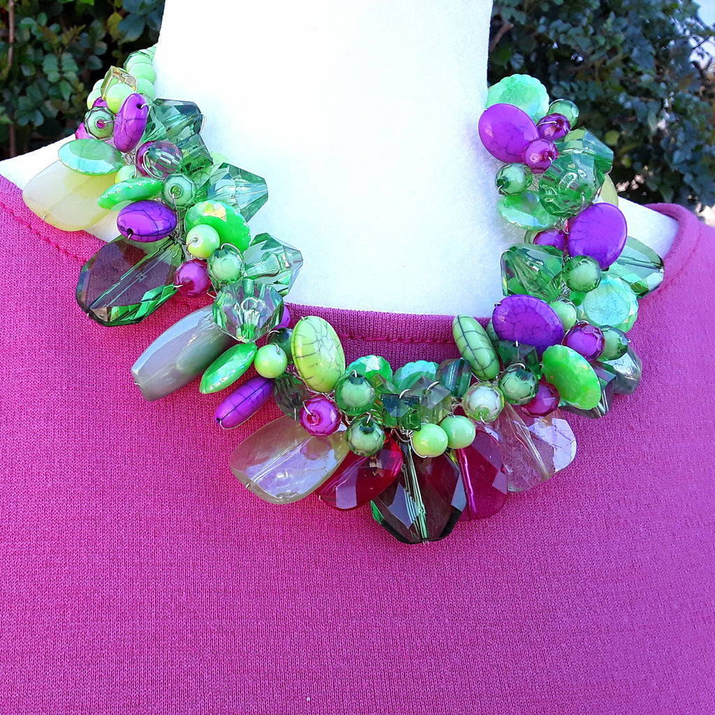 Chartreuse Chunky Twisted Wired Spring Statement Necklace -  Unique Mother of the Bride Collar
