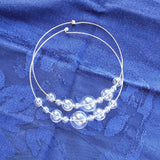 Clear Glass Bubble Wire Choker - Unique Modern Glass Bridal Statement Necklace - Gift for Her