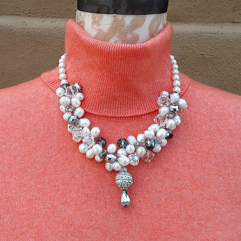 Freshwater Pearl Designer Inspired Statement Necklace - Unique Chunky Gift for Her