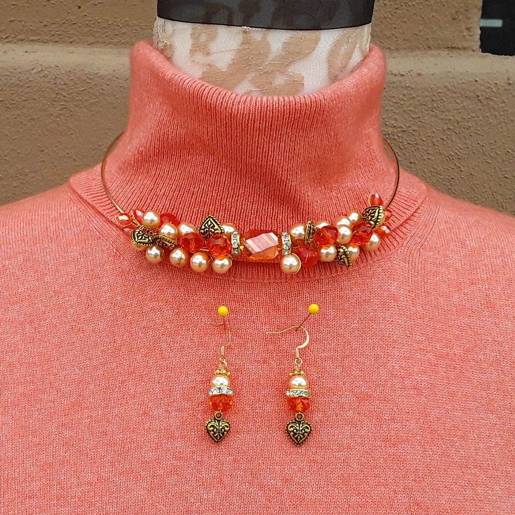 Orange Cluster Twisted Wire Crystal and Pearl Choker Set - Unique OOAK Gift for Her