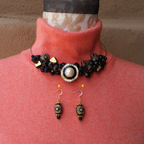 Art Deco Cluster Twisted Wire Black and Gold Choker Set - Unique Gift for Her