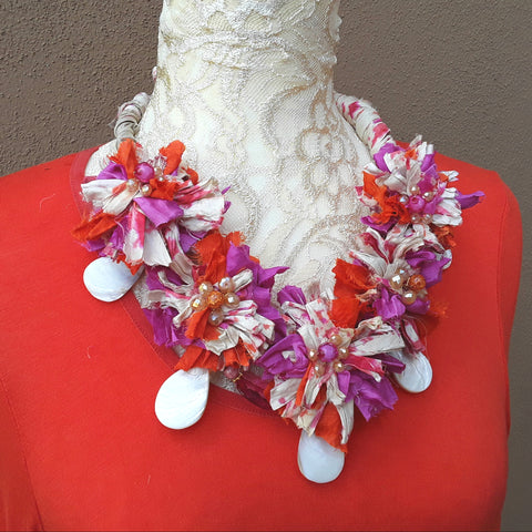 Pink & Orange Sari Statement Necklace, Silk Ribbon Boho Fabric Collar, Unique Gift for Her