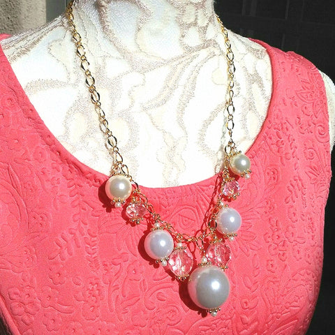 Modern Pearl Bubble Cluster Gold Plated Chain Statement Necklace - Unique Gift for Her