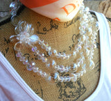 Hand Blown Clear Glass Beads Multi-Strand Statement Necklace, Chanel in Bubbles!!