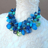 Chartreuse Chunky Twisted Wire Statement Necklace - Gift for Her - Mother of the Bride Collar