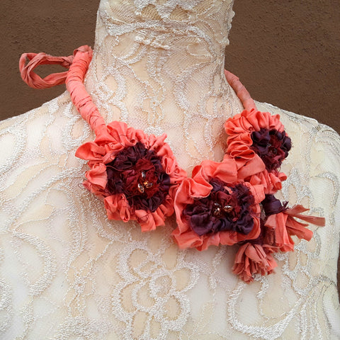 Orange Sari Silk Ribbon Flower Statement Necklace - Gypsy Style Fabric Gift for Her