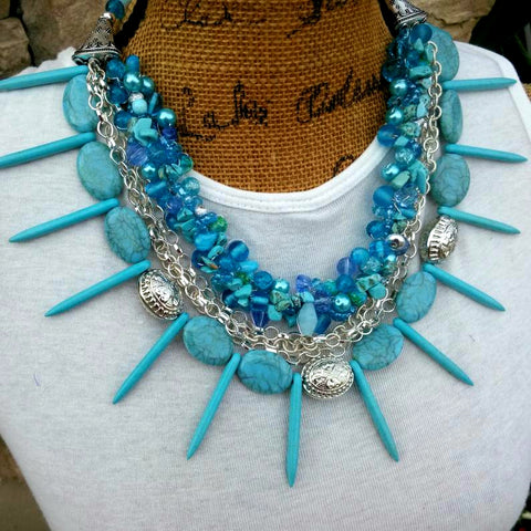 Turquoise Multi-Strand Chunky Statement Necklace, Unique Twisted Wire Jewelry Gift for Her