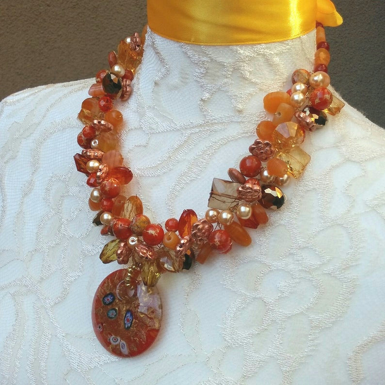 Orange & Copper Pearl Murano Glass Statement Necklace, One of a Kind Gift for Her