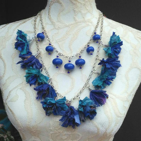 Boho Tassel Multi-Strand Statement Necklace, Sari Silk Ribbon Collar, Gypsy Style Sautoir
